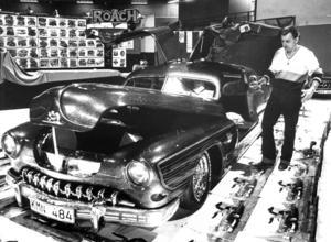 Sven Hansson körde hela vägen från Helsingborg för att visa upp sin Lincoln -51 på mässan 1984.