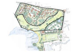 Skissen visar den planerade bebyggelsen vid Älgbostad och Hökmossbadet i Nykvarn. Illustration: Kjell Forshed