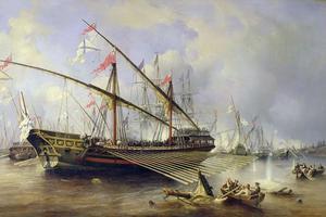 Rysk galär vid Granhamn, målning av Ferdinand Perrot.