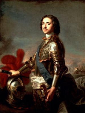 Peter den store styrde Ryssland under tiden och rysshärjningarna var hans metod att pressa Sverige i fredsförhandlingarna. Porträttet på tsar Peter är målat av Jean-Marc Nattier.