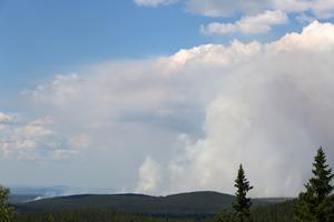 Branden norr om Trängslet sedd från Snoddskallen.