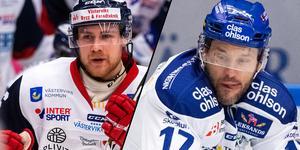 Västerviks Philip Rondahl och Leksands Jesper Ollas. Foto: Bildbyrån.