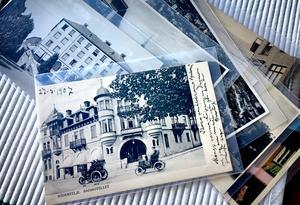 Ett välkänt motiv. Gamla badhotellet i centrala Södertälje pryder ett vykort tryckt och skickat i början av förra seklet.