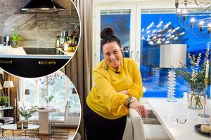 Annelie Emanuelz Andersson inreder med lugna färger i jordiga toner och accentfärgerna guld och silver ger hemmet en lyxig känsla.