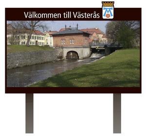 Stor skylt. Västerås ska sprida information via nya skyltar vid Hälla och Råby. De blir lika stora som jätteskylten vid Erikslund, men här är det kommunen som står bakom.