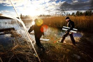 Dykarna Peter Lindberg och Floris Marselje monterar skydd över de nya kablarna.