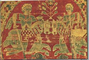 Ett bysantinskt textilarbete från 1000-talet visar två ryttare, kanske under en tornering.
