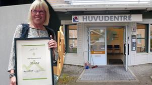 Maria Larm tog emot priset på regionfullmäktige som hölls på OSD i Östersund.