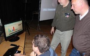 Anders Edlund, Nall Lasse Andersson och Mats Hellberg kunde hålla sig för skratt när vallokalsundersökningarna poppade upp på dataskärmen. FOTO:LEIF OLSSON