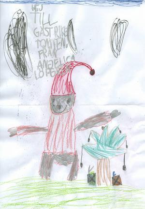 Angelica 5år från Ockelbo, har skickat in en fin glittrig hälsning till Gästrike Tomten. God Jul!