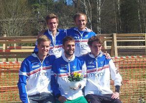 IFK Moras segrande lag, bakre raden: Johan Lindberg och Graham Gristwood. Främre raden: Andreas Holmberg, Zsolt Lenkei och Vojtech Kral.