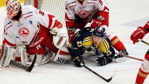 Johan Skinnars i underläge mot Troja/Ljungby när lagen möttes i januari. Oklart om han kan spela på torsdagskvällen.