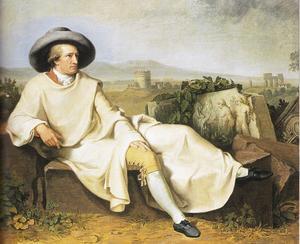 Johann Wolfgang von Goethe avbildad av Tischbein på den romerska campagnan under sin italienska resa på 1780-talet.