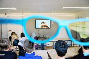 Biologi. Genom de speciella 3D glasögonen kan eleverna på Kyrkbacksskolan i Kopparberg studera människokroppen på ett ingående sätt.