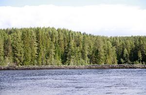 Vid Kölströmmen kan man se en mur som byggdes under början av 1900-talet för att underlätta flottningen och hindra erosion.