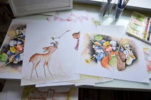Barnmotiv av olika slag finns i Sagas produktion.