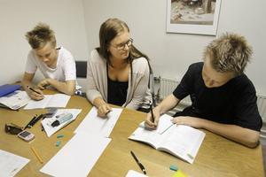 Sommarskola för att höja betygen. Här pluggar Martin Karlsson och Nisse Andrén matte tillsammans med handledaren Olivia Forsström.