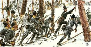 En målning av hur de svenska trupperna rycker fram mot Trangen. Något som innebar döden för stora delar av de svenska styrkorna.
