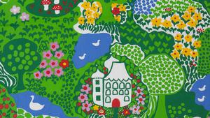 """Tyget """"Lycksalighetens ö"""" av Anna-Lena Emdén."""