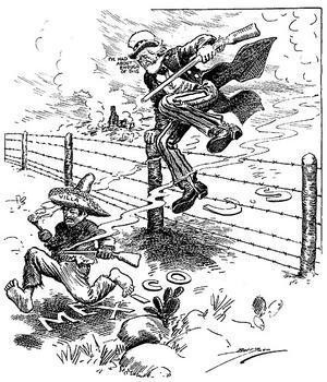 Amerikanerna tröttnar på Pancho Villas gränsräder och jagar honom på hemmaplan. Teckning av Clifford K. Berryman från 1916.