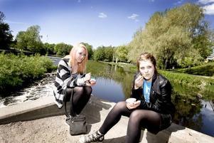 FINT LJUS. Klasskompisarna Fanny Frykman och Susanna Andersdotter hittade ljuset.