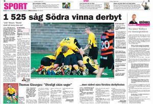 BBLAT-arkiv från derbyt på höstsäsongen. Arboga vann även derbyt nummer två säsongen 2008. Men denna gång blev det tightare och Södra tog segern efter Thomas Giourgas 1–0 i första halvlek. Matchen fick brytas efter drygt 30 minuter på grund av åskoväder.