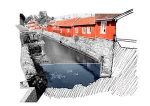 Vid Svartån i centrala stan kan man tänka sig en nedsänkt promenad. Bild: White arkitekter