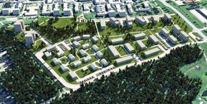 De två punkthusen till vänster i bild byggs under 2019-2020. Illustration: Tunabyggen.