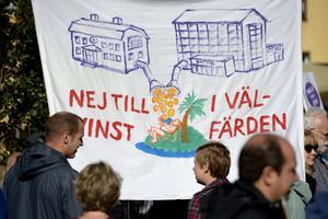 Manifestation på Medborgarplatsen mot vinster i välfärden   Foto: Janerik Henriksson / TT