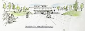 Klas Wrange föreslår att Faluns nya konserthus placeras i Vasaparken, delvis under Promenaden.  Skiss: Klas Wrange