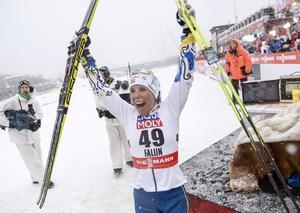 Charlotte Kalla vann 10 km fritt. Foto: Fredrik Sandberg/TT