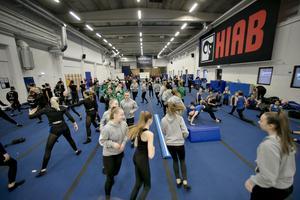 HIAB hallen i hudiksvall är en riktig gymnastikhall, gjord för truppgymnastik.