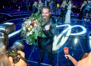 Chris efter vinsten i Idol 2017 på Globen.Foto: Stina Stjernkvist