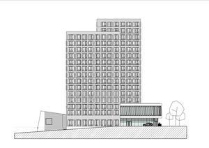 """""""Den högsta byggnadsvolymen fyller sin funktion som riktmärke i staden"""" skriver Stadsrum. Här syns byggnaden sedd från norr. Illustration: FOJAB/Stadsrum"""
