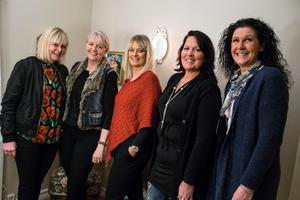 Från vänster: Kicki Sundin, Ewa-Marie Dalenius, Ulrika Pettersson, Catrine Persson och Ulrika Olsson.