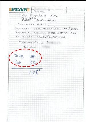 I den röda markeringen finns det angivet ett belopp som kan tolkas som att det ska gå till Daniel Kindbergs företag SDAB.