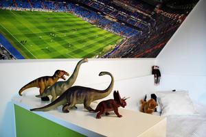 I Albins rum står dinosaurierna på rad. Pojkarna har varit sitt rum bredvid varandra och båda har Real Madrids Santiago Bernabéu-stadion på sina väggar.