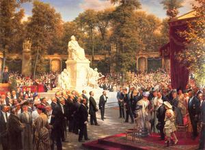 En hyllningsstaty till det stora tyska geniet Richard Wagner avtäcks i Berlin 1908. Målning av Anton von Werner.