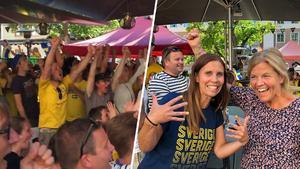 Mia Bergström och Veronica Ståhl var några av de som firade Sveriges seger på Rådhusgården.