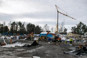 Markarbetet pågår för fullt på platsen där Geijerskolan tidigare stod.