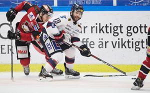 Christoffer Forsberg jagar Linköpings Joe Whitney under en match i Malmö Arena. Foto TT/Andreas Hillergren