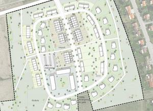 Så här ser skissen till det föreslagna nya området ut, med Kungsringen i övre kanten och Torsgatan till höger. De tre flerfamiljshusen nere till vänster är dock inte aktuella längre efter ett beslut i kommunstyrelsen. Skiss: Kungsörs kommun