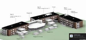 När bygget är klart som ska totalt elva avdelningar finnas fördelade på som mest tre olika våningsplan och lika många huskroppar. Dessutom ska ett helt nytt kök med matsal byggas mellan två av husen.