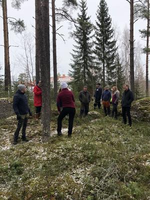 Titta, tänka och planera i gott samförstånd ger det bästa resultatet. Här på väg genom skogen mellan bygdegården och idrottsplatsen.