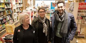 Helen Skattberg, butikschef Akademibokhandeln, Maria Eile, Stadsrum fastigheter och Aljoša Lagumdžija, Centrumföreningen är positiva inför det nya parkeringssystemet i Södertälje centrum.