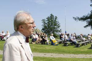 Thomas Göransson, här på Kungsudden vid nationaldagsfirandet i somras, är ordförande i Hembygdsföreningen.