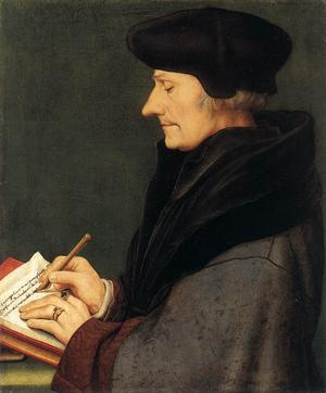 Redan på 1500-talet slog urhumanisten Erasmus av Rotterdam fast att barnboken ska vara sedelärande.  Målning av Hans Holbein den yngre från 1523.