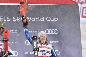 Anna Swenn-Larsson var trea vid fjolårets VC-tävling i Hammarbybacken. Den placeringen gav 90 000 kronor. Själv menar Swenn-Larsson att hon inte tänker så mycket på de stora pengarna inom sporten. Foto: TT