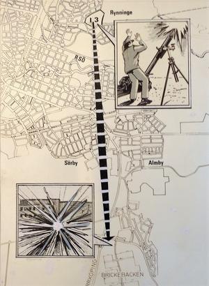Fem kilometers projektilbana. Janne Nilsson, NA:s tecknare, illustrerade händelsen fredagen den 3 november 1978 när Brickebacken av misstag besköts från I 3.