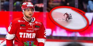 Jacob Olofsson tvingades lämna matchen efter krocken med Daniel Rahimi. Bild: Pär Olert/Bildbyrån/Skärmdump C More/Montage